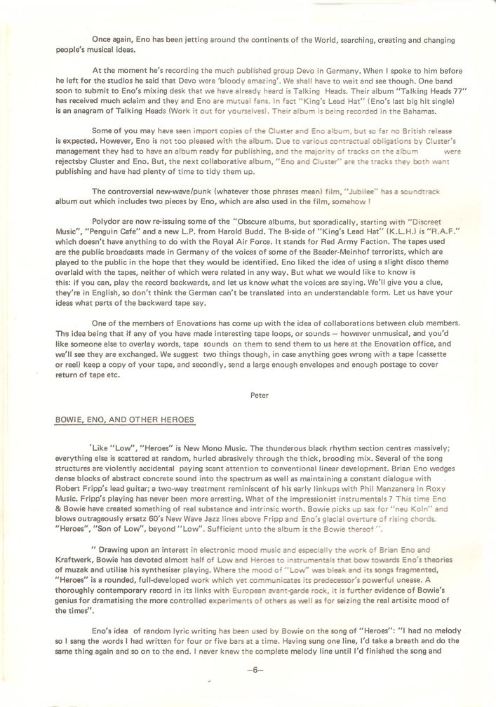 Enovations Newsletter Spring 1978 (page 6)