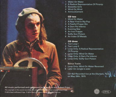 Fripp & Eno Live In Paris (CD case back cover)