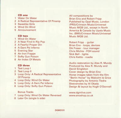 Fripp & Eno Live In Paris tracks & credits