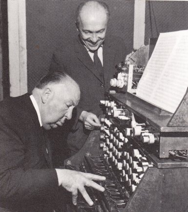 Oskar Salla and Alfred Hitchcock working on the sound effects for the film 'The Birds'